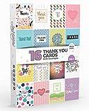 Coffret de 16 Cartes de Remerciement et Enveloppes Blanches par Joy MastersTM - Message Thank You avec design coloré et moderne - Intérieur blanc - Homme et femme - Grand format 12,5 x 17 cm...