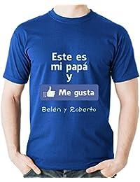 Calledelregalo Regalo para Padres por su cumpleaños, Navidad o el Día del Padre: Camiseta Personalizada Azul Marino Me Gusta con su…