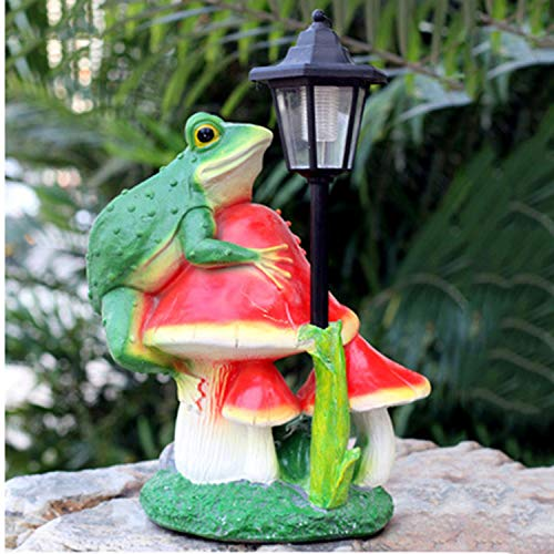 LOVEPET Froschpilz-Solarlicht Glasstahlpilzverzierungen Im Freien Gartensimulationsskulptur Gartenverzierung 35X25X40cm