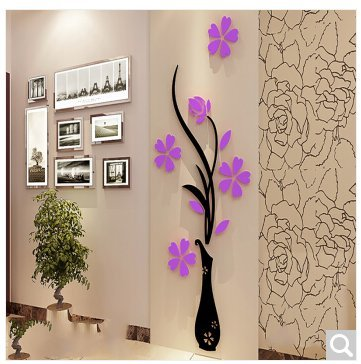 Jedfild Wandaufkleber Vasen von 3d Acryl crystal stereo Wandaufkleber des Fernsehgeräts im Wohnzimmer an der Wand Hyun, Home Dekoration, sechs schwarze und rote Blume, die geringe Zahl von 40 * 100, vier schwarze Stöcke von Licht lila Blüten