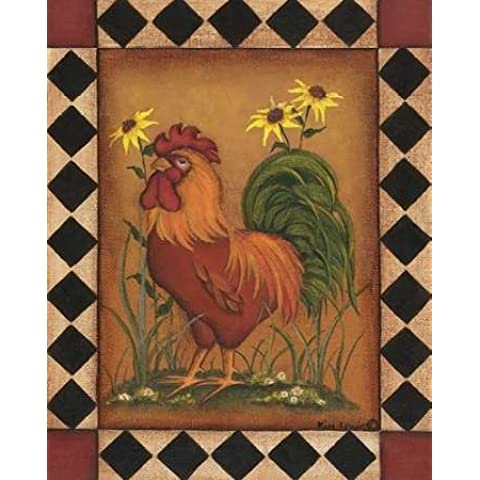 Red Rooster I by Lewis, Kim–stampa fine art disponibile su tela e carta, Tela, Red, SMALL (8 x 10 Inches ) - Folk Art Wall Hanging