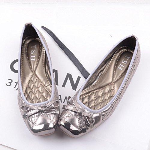 WYMBS Nouvelles chaussures femme chaussures unique télévision télévision avec grande tête carrée Européens et Américains occasionnels chaussures chaussures confortables bouche peu profonde Silver