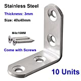 Qrity® 10 Stück Edelstahl 90 Grad Winkelspanner Winkelverbinder Winkel Bracket mit Schrauben, 40x40mm, Dicke 3mm