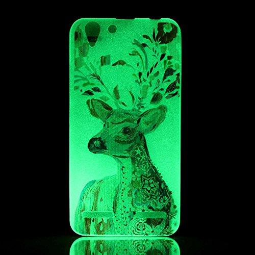 CaseHome Lenovo K5 Luminous Hülle (Mit Frie Displayschutzfolie) Leuchtende Silikone Rückhülle Für iPhone 6 6s Plus 5.5 Zoll Zoll Silikon Etui Handy Hülle Weiche Transparente Luminous TPU Back Case Tas Aquarell Hirsch