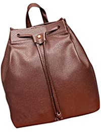Mochila, Manadlian Bolsa de cubo de mujer MochilaCordón de la moda Bolsa de viaje Satchel School Bag (25cm*12cm*27cm, Marrón)
