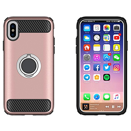 CaseforYou Hülle iphone X Schutz Gehäuse Hülse Carbon Fiber Coated TPU Rubber Case Hard PC Shockproof Protective Back Cover Shell with Rotating Ring Grip Stand Holder Schutzhülle für iphone X Handy (M Rose Gold