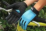 Lerway Anti-Rutsch Outdoor Hände Handschuhe Breath Weich Vollfinger MTB Handschuh Fahrradhandschuhe für Radfahren,Fahrrad Sports (Blau, XL)