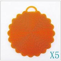 5pcs silicone brosse vaisselle upxiang Cuisine Nettoyage antibactérien Outils vaisselle éponge, Silicone, Orange, 12,5 * 12,5 cm