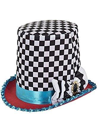 Verrückter Hutmacher Hut Zylinder schwarz weiß Mad (Mad Hatter Der Kostüm)