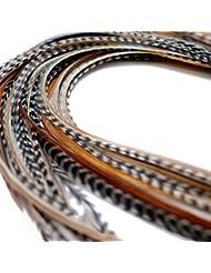 XXL long 27,9–33cm (28–33cm) en plumes véritables cheveux Extensions x 10 + Anneaux et boucle