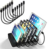 MSTJRY Charging Station for Multiple Devices with Switch Charging Dock 6 Ports Detachable Universal Quick Charger for Smartphones, Tablets (Black, 3 Lightning & 3 Micro Cables Included)