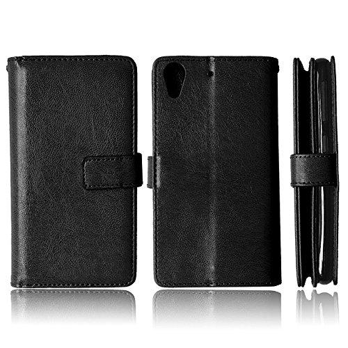 HTC 626 Case Solid Color-Qualität PU-Leder-Kasten-Abdeckungs-Standplatz-Mappen-Kasten für HTC 626 ( Color : Rose , Size : HTC 626 ) Black