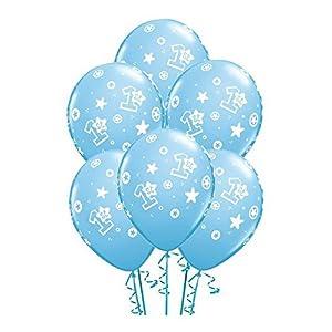6 Latexballon Luftballon Zahlenballon 1 Geburtstag hellblau pastell mit weißem Aufdruck Junge ca. 28 cm (Ballongas geeignet)