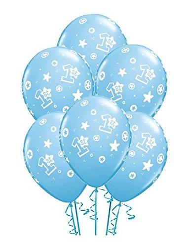 Preisvergleich Produktbild 6 Latexballon Luftballon Zahlenballon 1 Geburtstag hellblau pastell mit weißem Aufdruck Junge ca. 28 cm (Ballongas geeignet)
