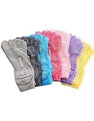 KAMAY'S Lot de fitness antidérapant Chaussettes de yoga 5orteils 7couleurs disponibles