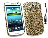 Emartbuy ® Stylus Pack Per Samsung Galaxy S3 I9300 Siii - Mini Nero Metallico Stylus + Lcd Screen Protector + Diamante Duro Della Copertura Posteriore Leopard Oro
