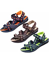 IndiWeaves Men's KRS Casual Sandal And Floaters Office Sandal-Green/Blue-Brown/White-Orange/Blue-Pack Of 3 Pair - B071YC4QH3