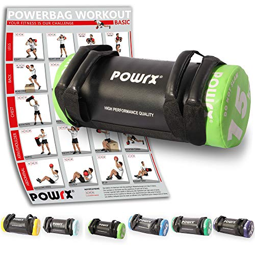 POWRX Power Bag I 5-30 kg I Kunstleder Fitness Bag für Functional Fitness (15 kg Schwarz/Hellgrün)