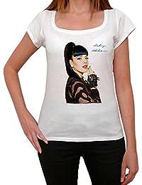 Lily Allen, tee shirt femme, imprimé célébrité,Blanc, t shirt femme,cadeau