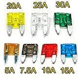 BESTEK Universel Mini Fusible Mécanique 120 pièces de 7 Couleurs+ 7 Types (5A- 7.5A- 10A- 15A- 20A- 25A- 30A) pour Voiture Moto Auto
