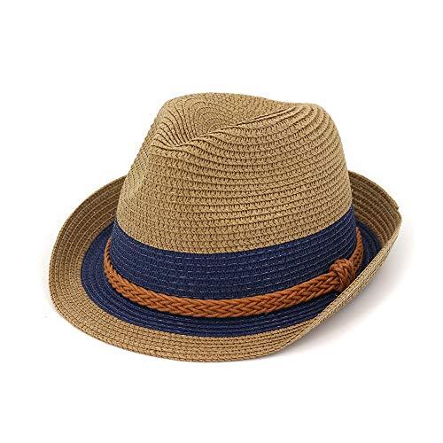 Hat Tages Zubehör Wide Brim Frauen Top Hatt Eltern-Kind-Strohhut Stroh Sonnenschirm Farbe Hut Streifen Orange Braid Rope Stroh Sonnenhut (Farbe : 3, Größe : 56-58CM)