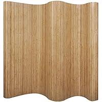 vidaXL Biombo de Bambú Plegable Natural Privacidad Decoración Dormitorio 250x195 cm