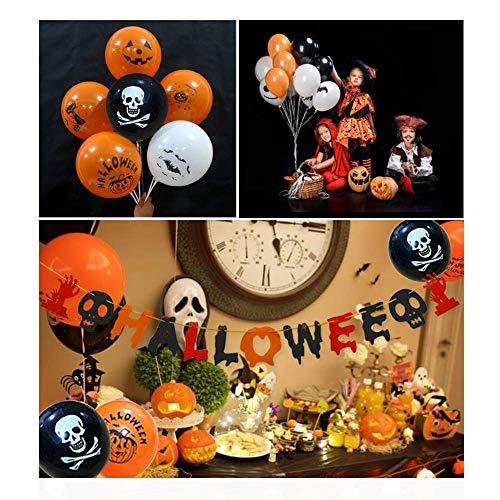 Caiery 50 pcs Halloween Dekoration Ballons Luftballons & 1pcs Halloween Girlande/Halloween Deko Set für geeignet-Grusel-Horror-Party-Deko - 3