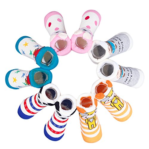 5 Paires 0-6Mois Coulur Random Chaussettes Bébé Fille Garçon Souple Baby Nouveau-né Motif Animal Mignon Chaussure Souple