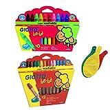 Lot de 2 boîtes Giotto Bébé: Maxi crayons de couleur bois + Maxi crayons incassables cire + 3 Ballons Blumie