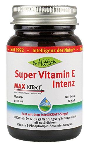 Super Vitamin E Intenz - 30 Kapseln - Hochdosiert und komplett durch das perfekt abgestimmte Tocotrienol- Tocopherol Verhältnis. Mit...