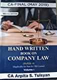 Company & Allied/Economic Law (Set of 2 Books) Handwritten Book For CA Final May 2019 Exams by CA Arpita Tulsyan