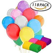 Paxcoo 100 Pack Globos de Látex y 18 Rollos Crepe Paper Flowsers para Decoraciones de Fiesta de Cumpleaños