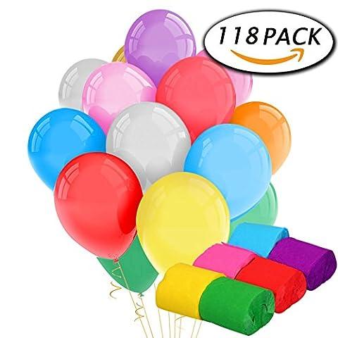 Paxcoo 100 Pack Latex Color Balloons et 18 Rolls Crepe Paper Streamers pour les décorations de fête d'anniversaire