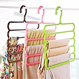 #5: Everbuy ™ Multipurpose Plastic Hanger - Multipurpose Hanger for Shirts, Ties, Pants Space Saving Hanger, Cupboard Organizer, Strong (Multiple Assorted Color)