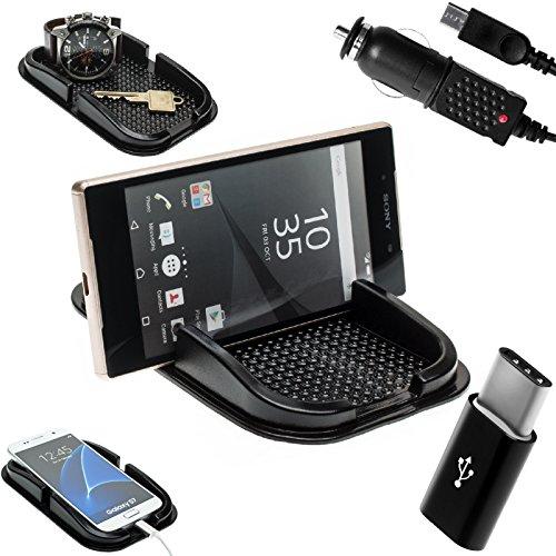 mobilefox® KFZ Anti-Rutsch Matte integr. Handy Halterung + Ladekabel Set für Sony Xperia XZ/X Compact - Rutschfestes Auto Halter Pad