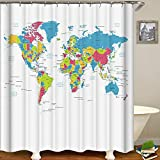 "Decdeal Shower Curtain Simple Style Printed Blackout Curtains Waterproof Mildew-Proof Bathroom Curtain 71""x71"""