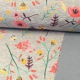 Softshell Stoff Hellgrau meliert Blumenmix rosa-gelb -