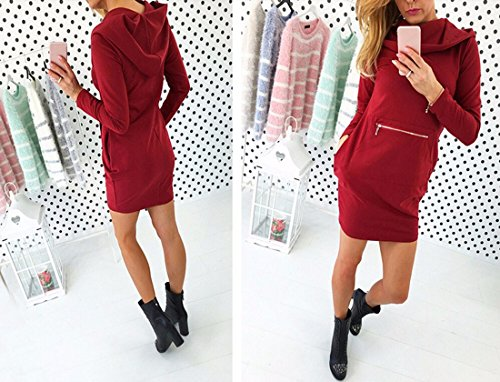 Sleeve avant long Hoodie Pocket Dress Femmes Slim moulantes Pencil Robes vin rouge