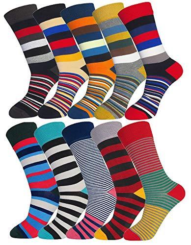 FULIER Uomo Calzini Pacchi Cotone Design Colorato Confortevole Vestito Vitello Calzini UK 6-13 EUR 39-47 (10 Pack - Stripe 1)