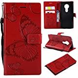 Hozor Motorola Moto E5 Handyhülle, Retro Großer Schmetterling Muster PU Kunstleder Ledercase Brieftasche Kartenfächer Schutzhülle mit Standfunktion Magnetverschluss Flip Cover Tasche, Rot