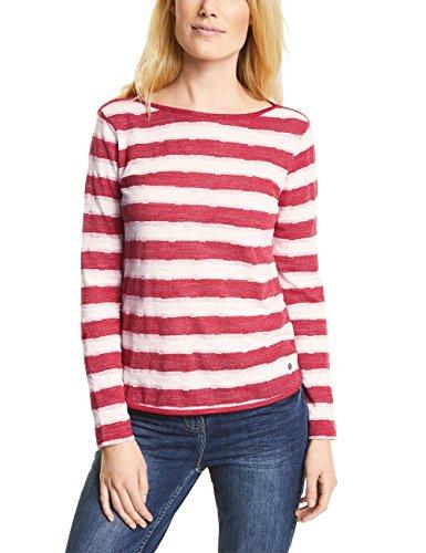 Cecil Damen Langarmshirt 311736 Jonna, Mehrfarbig (Salsa Red 21198), Small (Salsa-t-shirt)