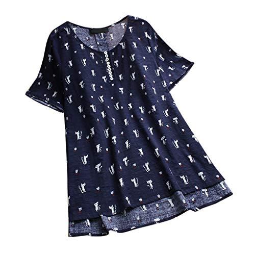 iHENGH Damen Bequem Mantel Lässig Mode Jacke Frauen Frauen mit Langen Ärmeln Vintage Floral Print Patchwork Bluse Spitze Splicing Tops(Marine-b, 3XL)