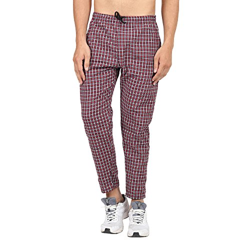 BIS Creations Men's Cotton Checkered Red Pyjama_L  available at amazon for Rs.249