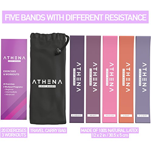 Athena-Resistance-Exercise-Bands-Fitness-Loop-Band-with-Instruction-Guide-and-Carry-Bag-Set-of-5-Home-Gym-Workout-Equipment-for-Legs-Glutes-Thigh-Yoga-Pilates-CrossFit-Mobility-Training