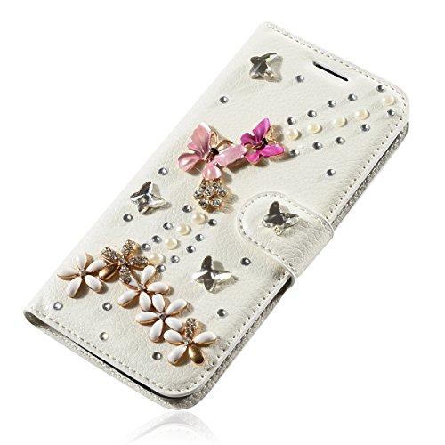 iPhone 7 Coque, iPhone 7 portefeuille Coque, Lifeturt [ Perle papillon ] Livre cuir de qualité supérieure Wallet Case Cover pour iPhone 7 E02-16-cristal Papillons