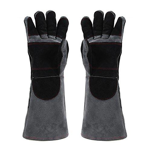 eißen Handschuhe mit CE-Zertifikate, Hitzebeständigkeit Anti-Kratzer Schnitt Resistent / Perfekte Wahl der Blockierung Hitze und Schützen Ihre Hände (16 Inch / 40 CM) Grau (Leder-arbeits-handschuhe Größe Klein)