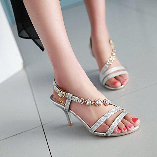 Mee Shoes Damen high heels Schnalle open toe Sandalen Silber