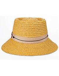 Lieyliso Cappello da Donna Cappello di Paglia Primavera Estate di Grandi  Dimensioni Pieghevole Cappello di Paglia aa241b435c40