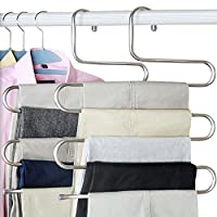everso 2pcs Pants Hangers S-type 5 layers Stainless Steel Trousers Rack Space Saving