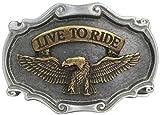 Gürtelschnalle Adler Live to Ride 4,0 cm | Buckle Wechselschließe Gürtelschließe 40mm Massiv | Für Wechselgürtel bis zu 4cm Breite